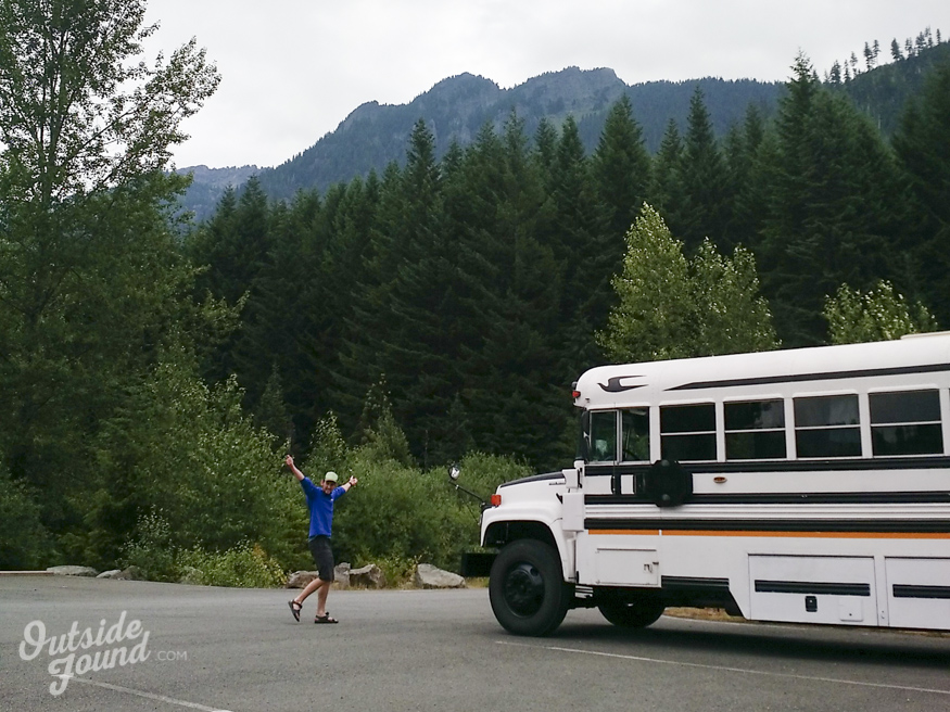 Outside Found Bus | Campsite at Gold Pond on Snoqualmie Pass